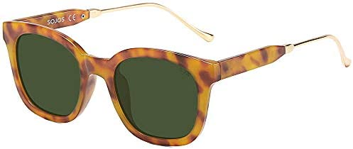 SOJOS Classic Square Polarized Sunglasses Unisex UV400 Mirrored Glasses SJ2050 with Amber Frame product image