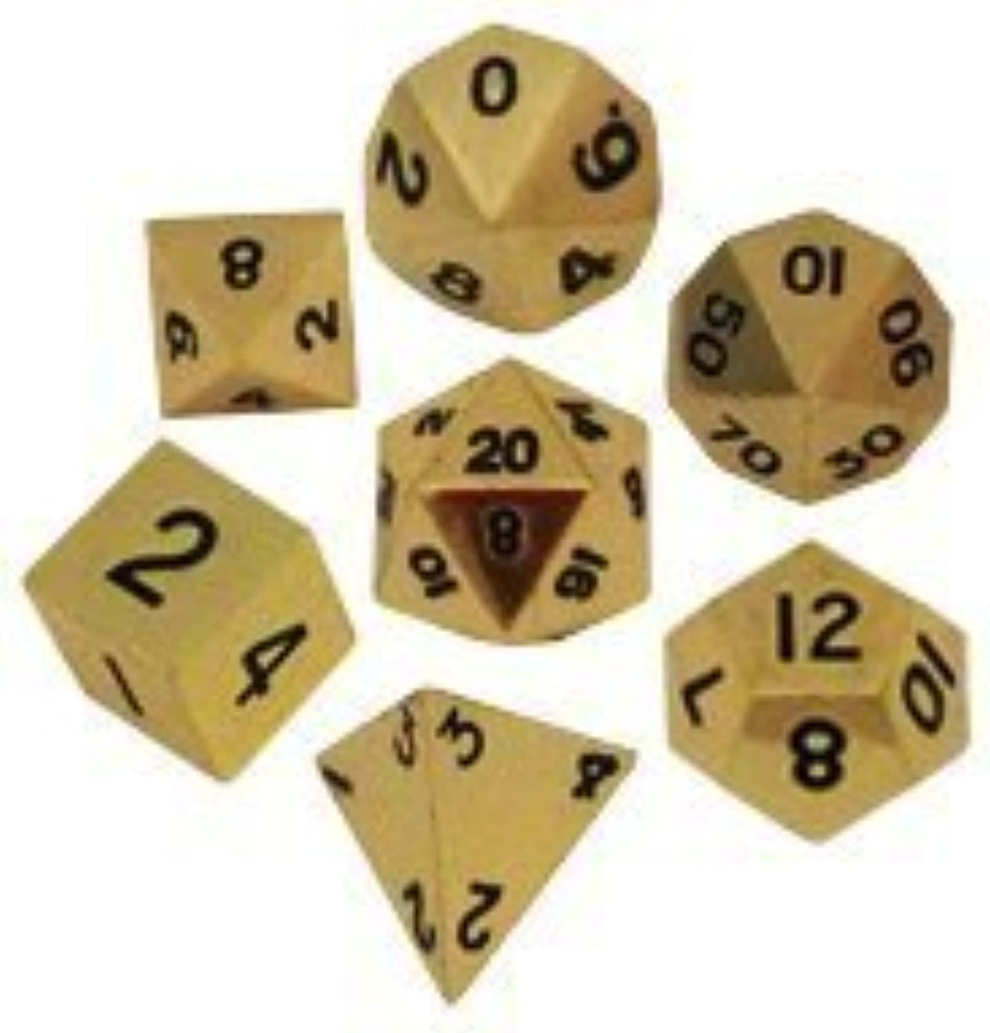 Metal Dice Polyhedral Set of 7 die (7) gold by Metallic Dice Games
