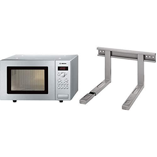 Bosch HMT75M451 Serie 2 Freistehende Mikrowelle / 800 W / 17 L/Drehteller 24,5 cm/Edelstahl & Xavax Mikrowellenhalterung ausziehbar (Mikrowellen-Halter für die Wand-Befestigung) silber