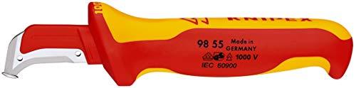 KNIPEX Abmantelungsmesser mit Gleitschuh 1000V-isoliert (180 mm) 98 55