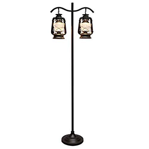 Luz de piso Lámpara de pie de doble cabeza retro Sala de estar Balcón Cafe Lámpara de queroseno creativa Lámpara de pie vertical Lámpara de pie de pie (Color : Button)