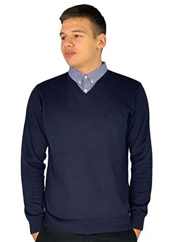 Pierre Cardin - Maglione lavorato a maglia con scollo a V e inserto con il colletto di camicia Marina Militare XXX-Large