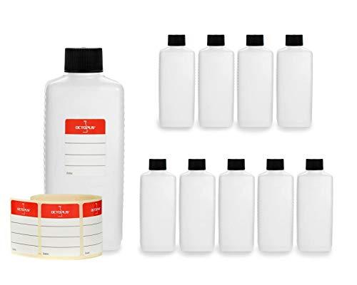 10 botellas de plástico de Octopus de 250 ml, botellas de plástico de HDPE con negro tapones de rosca, botellas vacías con tapas de negro rosca, botellas rectangulares con etiquetas para marcar
