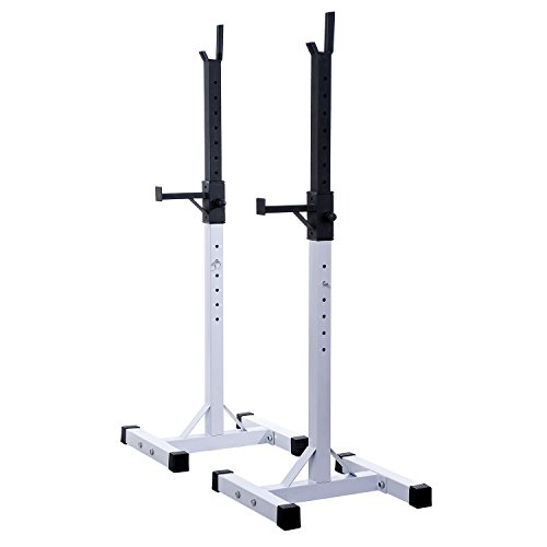 Soozier Adjustable Stable Power Squat Stand Portable 2 Bars Barbell Holder Weight Rack (Black/White)