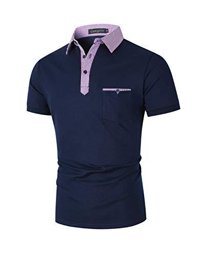 GNRSPTY Polos para Hombre Manga Corta Algodón con Bolsillos Reales Cuello a Cuadros Camisas Slim Fit Golf Deporte Trabajo,Azul Marino,L