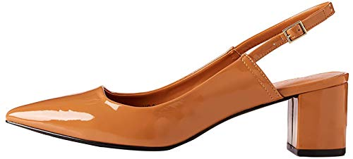 find. Block Heel Point Toe Zapatos con Tira de Tobillo, Braun Caramel, 41 EU