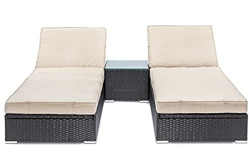 GGL Marbella Sun Lounger Set Dark Brown Rattan, Cream Cushions (Sunloungers)