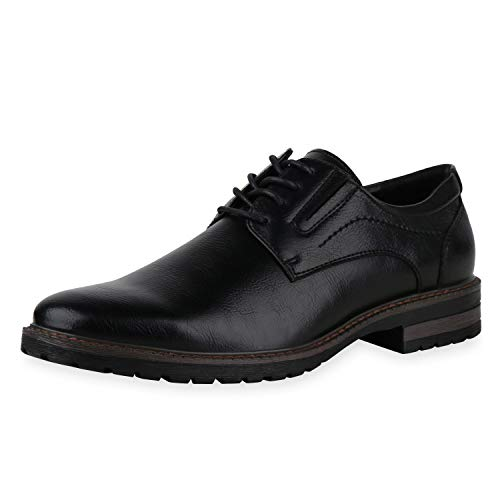SCARPE VITA Herren Klassische Schnürer Blockabsatz Profilsohle Business Schuhe Lederoptik Schnürschuhe Elegante Freizeitschuhe 198297 Schwarz 42