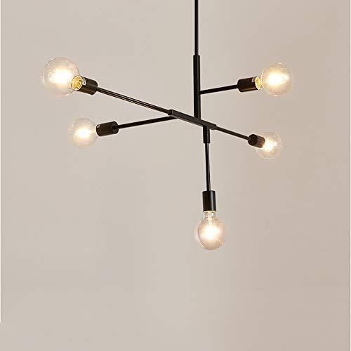 Crayom Lámpara colgante Lámpara lineal moderna Lámpara de techo de 5 luces Lámpara colgante de hierro forjado Decoración de luz Tienda de café en casa Lámpara colgante Base E27 Lámpara suspendida