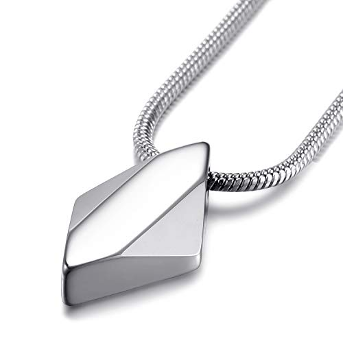 Men's Tungsten Carbide Pendant Necklace Rhombus Diamond Arrow Shaped Tungsten Steel Pendant with 22 Inches Stainless Steel Snake Chain