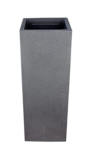 BigDean Pflanzsäule in Stein-Optik - 80 x 30 x 30 cm - hoher Pflanzkübel in Anthrazit - Säule mit glatter Oberfläche - für Innen & Außen - frostsicher