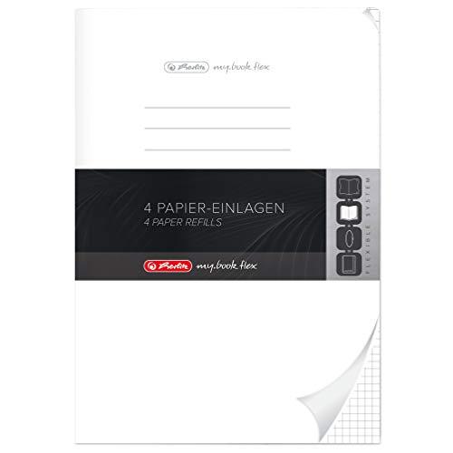 Herlitz 11404712 Refill A4 für my.book flex, Lineatur 28, kariert mit 2 Ränder, 4-er Pack, 4 x 40 Blatt