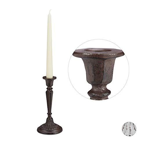 Relaxdays Vintage Kerzenhalter, für Stabkerzen, Shabby Chic, Vintage-Design, stabiles Gusseisen, H x D 19 x 9 cm, braun