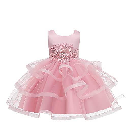 WAWALI Vestido de tul de encaje de niña de flores vestido de boda de desfile bordado vestidos para niñas vestido de bola nupcial con faja