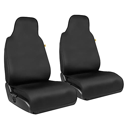 Caterpillar Waterproof Front Seat Covers, 2 Pack – Heavy Duty Black Seat Covers for Cars with Black Trim, Protection from Liquids and Stains, Universal Fit for Auto Truck Van SUV