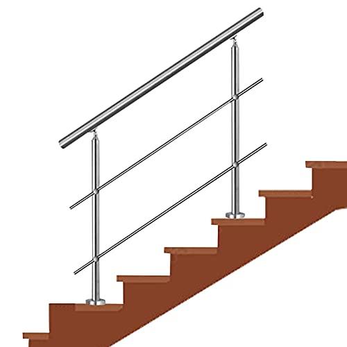 Barandilla Pasamanos Barandilla de escalera plateada, pasamanos de acero inoxidable 304 con barras transversales, barandilla de escalón ajustable para barandilla de jardín interior y exterior