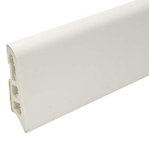 Praktikus 8.75m Kunststoffsockelleiste 60 |weiss| Im Paket 5 Leisten je 1,75m | selbstklebend