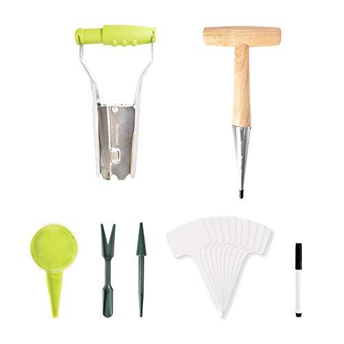 GARDTECH herramientas manuales de siembra de jardín - Dibber de acero inoxidable con mango de madera, sembradora de bombillas, dispensador de semillas de siembra, etiquetas de plástico tipo T