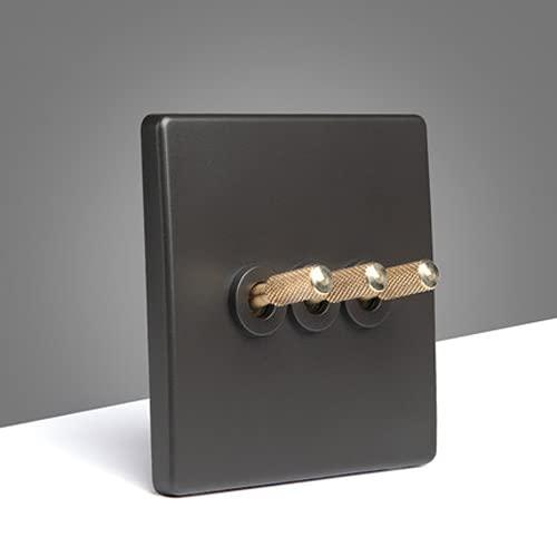 Interruptor Creativo Interruptor De Palanca De Latón 86 Tipo 1-4 Interruptor De 2 Vías Interruptor De Palanca Retro Interruptor De Pared De Palanca De Dormitorio Simple Nórdico Negro