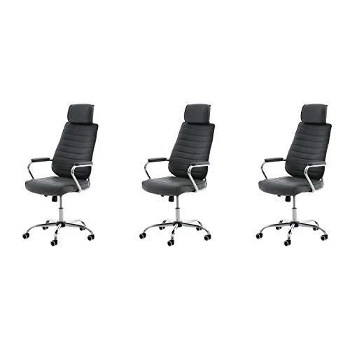 Lüllmann Rako V2 - Lote de 3 sillas de oficina giratorias, color gris