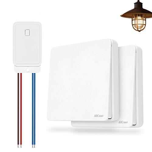 Interruptor Inalámbrico,AICase Interruptor y mando inalámbrico, puede colocarse en la pared o como control remoto portátil,Sin batería Sin cables No se requiere Wi-Fi (2 grandes)