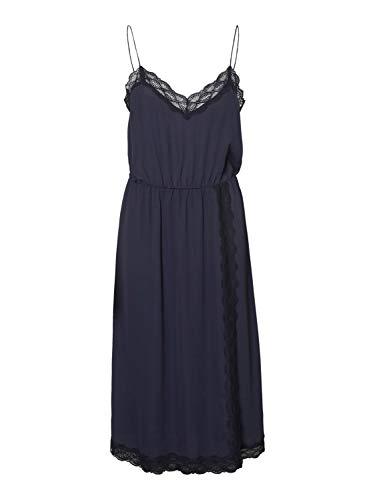 VERO MODA Damen VMJEANNE Singlet Calf Dress WVN Kleid, Night Sky, L