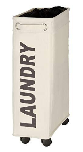 WENKO Wäschesammler Corno Beige, stabiler schmaler Wäschekorb mit vier leichtgängigen Rollen und Deckel, Wäschetruhe aus 100% Polyester, Fassungsvermögen 43 L, (B x H x T): 18,5 x 60 x 40 cm