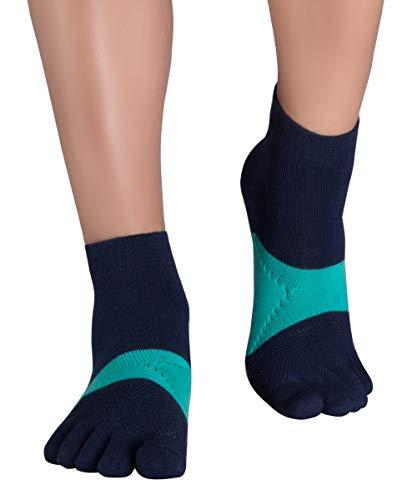Knitido Marathon TS Calzini con le dita da corsa con protezione antiscivolo, Misura:39-42, Colore:Blu Marino / Verde Mare (225)