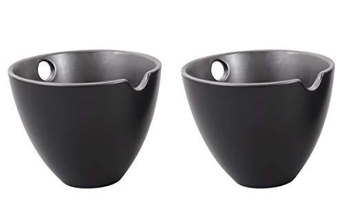 Aricola Set di 2 Ciotole in Ceramica, Colore: Nero