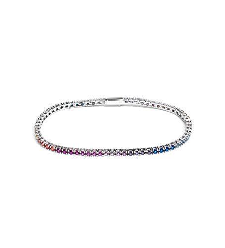 Remo Gammella Joyas pulsera hombre mujer tenis plata 925 bañada en oro blanco y circonitas Rainbow multicolor de corte diamante de 2 mm. Longitud 17,5 cm