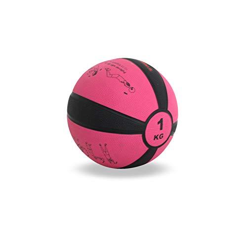 TrainHard Medizinball 1-12 kg, Gummi Gewichtsball in 10 Farbig, Professionelle Gymnastikball für Krafttraining, Crossfit und Fitness (1 KG - Rosarot)
