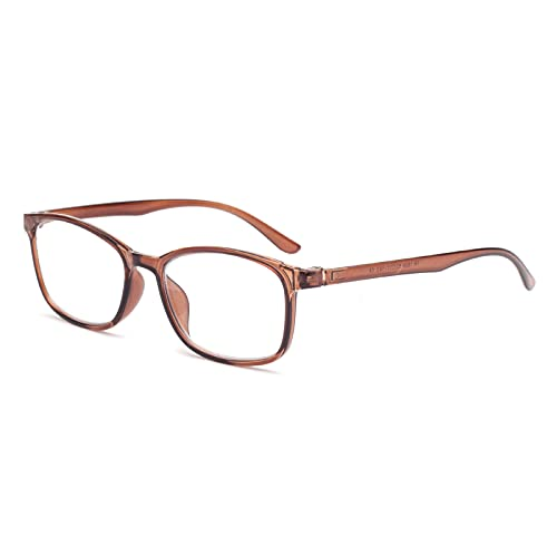 老眼鏡 おしゃれ 軽いブルーライトカットメガネ メンズ レディース ウェリントン 軽量 ケース付き リーディンググラス ブラウン 度数+200 LYL1806