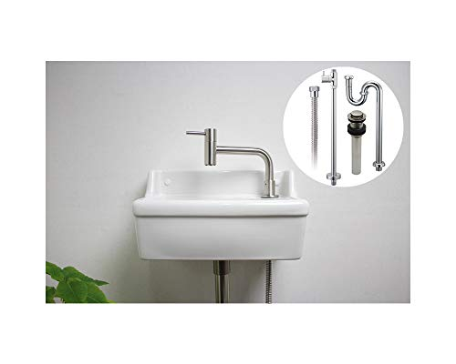蛇口手洗いセット【KOLM】ステンレス単水栓【Essence】壁付手洗器Sレクタングル(ブランカ) 床給水・床排水セット