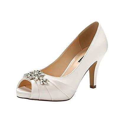 ERIJUNOR E0055Peep Toe Mid Heels for Woman Rhinestones Satin Evening Prom Wedding Shoes Ivory Size 9