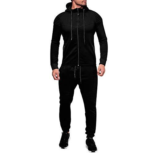 amropi Conjunto de Chándal para Hombre Chandal de Jogging Sudadera con Capucha y Pantalones XXL,Negro