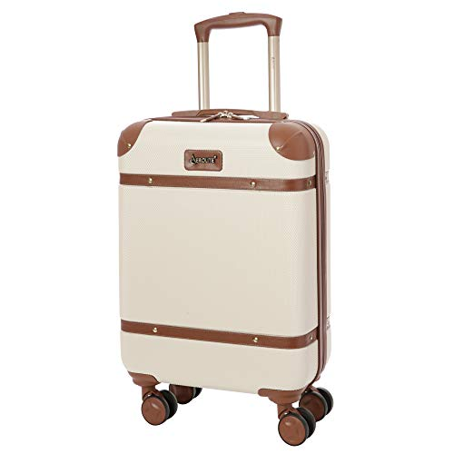 Aerolite Stylish Classic Retro Vintage ABS Hard Shell Carry On Hand Cabin Luggage Suitcase with 4 Wheels 55x35x20 Ryanair easyJet Approved, Cream