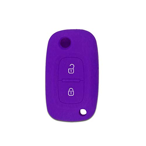 Maidao 2 Button Remote Car Key Shell Case for Renault Silicone Cover Flip Remote Key Case Holder Purple