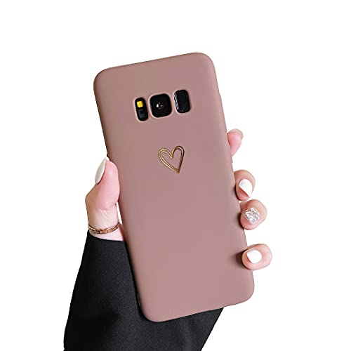 DEFBSC Case Compatible with Samsung Galaxy S8 Case, Fashion Cute Love-Heart Shape Case, Liquid Silicone Gel Rubber Phone Case, Shockproof Soft TPU Back Cover Protective Case with Heart Pattern, Brown