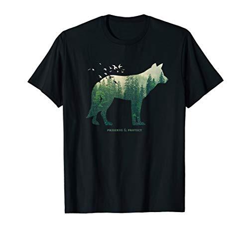 Preserve & Protect Umweltschutz Klimaschutz Wolf Silhouette T-Shirt