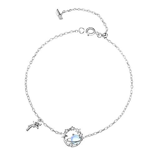 TTGE Moda 925 Cadena de eslabones de Plata esterlina ópalo Planeta Estrella Pulsera y Brazalete para Mujer joyería de Boda hipoalergénica