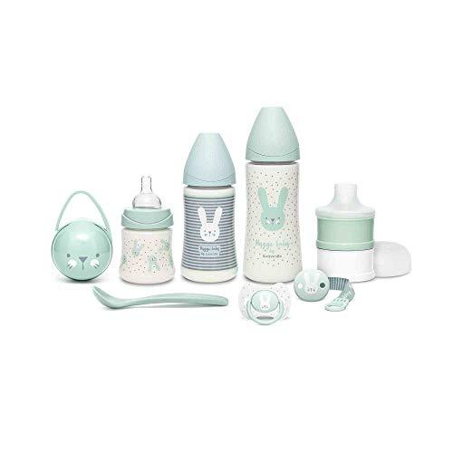 Suavinex Set Premium Reci茅n Nacido con Biber贸n 150ml, 270ml y 360ml, Dosificador de leche, Chupete fisiol贸gico -2-4 meses, Broche cinta y Cuchara, Verde