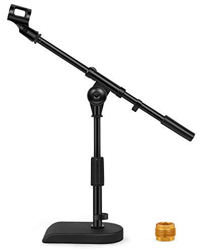 """InnoGear Adjustable Desk Microphone Stand, Weighted Base with Soft Grip Twist Clutch, Boom Arm, 3/8"""" and 5/8"""" Threaded Mounts for Blue Yeti and Blue Snowball, Kick Drums, Guitar Amps"""