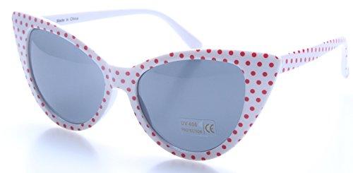 retroUV® - Tupfen Katzenauge Frauen Mod Mode Super Cat Sonnenbrille (Weiß Rot-Punkt mit retroUV® Beutel)