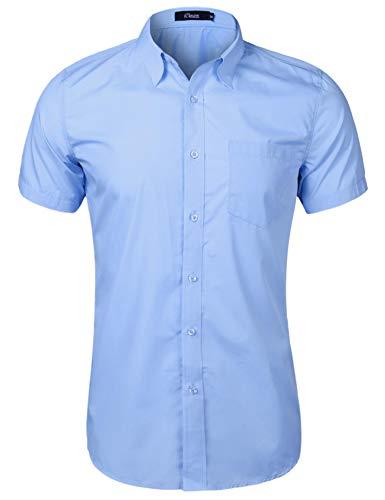 iClosam Hemd Herren Kurzarm Regular Fit Hemden für Anzug, Business, Freizeit, Hochzeit Hellblau L