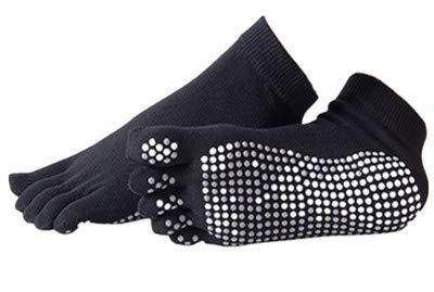 URIBAKY - Calcetines de yoga para mujer, con cinco dedos, antideslizantes, color liso, deslizantes por dedos, calcetines de baile de ballet de deporte, talla universal 1 par Negro Talla única