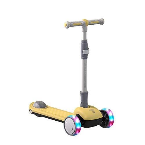 ZZL Stunt Scooters Patinete de 3 ruedas para niños y niñas, inclinarse para dirigir con ruedas de patineta iluminadas para niños de 2 a 12 años de edad (color: amarillo)