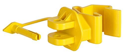 AKO 25x T-Pfosten Pinlockisolator gelb, für Litze und Seil - Verbessertes Clip System - Einfaches Anklippen am T-Post - Kein Herausrutschen des Leitermaterials möglich