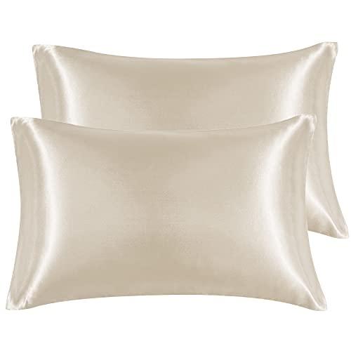 Hansleep Funda Almohada 40x70cm de Satén de Color Crema, Sedoso estándar para 2 Piezas, con Cierre de sobre, Muy Liso Suave de 100% Microfibra, Belleza Facial, Cuidado de la Cara, hipoalergénico