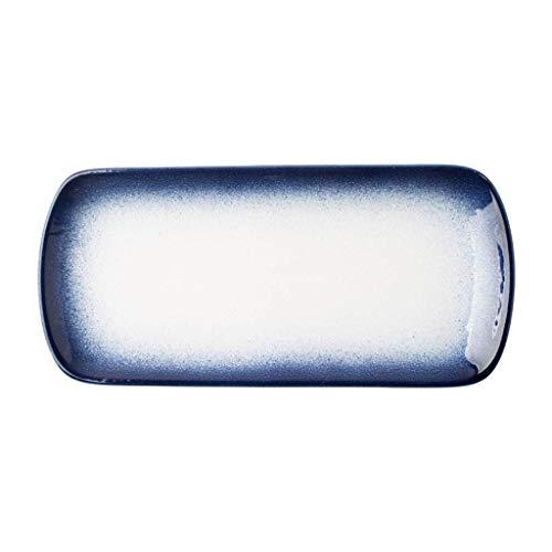 YNHNI Plato de cerámica Plato Principal Rectangular Regalo (Color : White, Size : 32.4 * 15 * 2.6CM)
