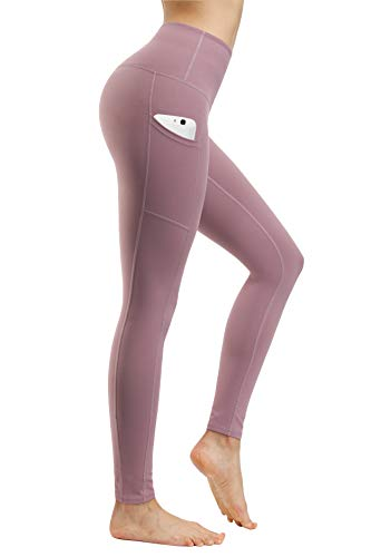 Fengbay High Waist Yoga Pants, Pocket Yoga Pants Tummy Control Workout Running 4 Way Stretch Yoga Leggings Lilac